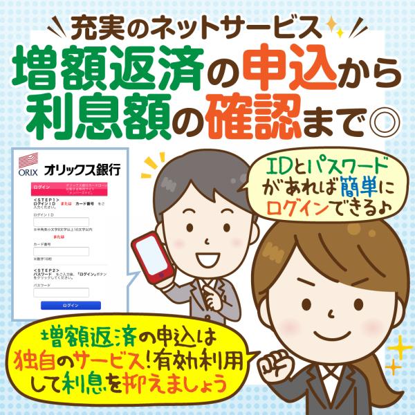 オリックス銀行の会員サービスにログイン:特徴は増額返済!