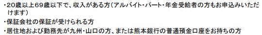 熊本銀行公式HPより審査条件