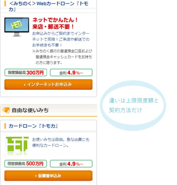 「Webカードローン<トモカ>」と「トモカ」