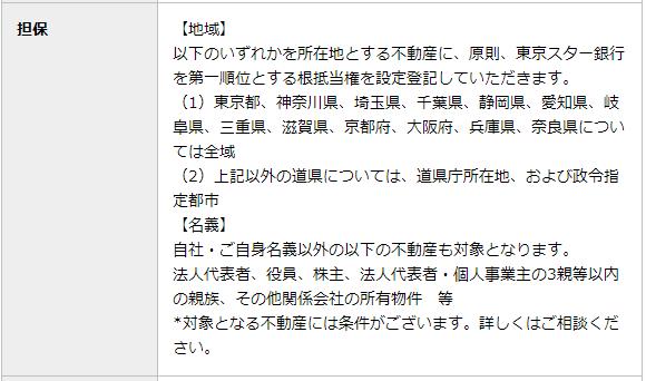 東京スター銀行公式HPより:担保