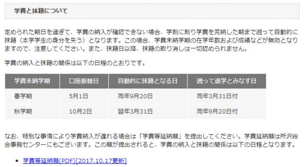 早稲田大学公式HPより:学費と抹籍について