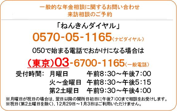 日本年金機構公式HPより:ねんきんダイヤル