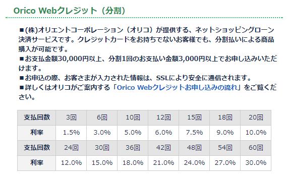 「サイクルショップカンザキ」公式HPより:Orico Webクレジット(分割)