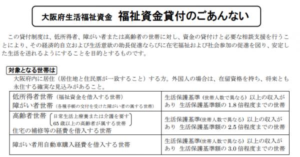 福祉資金貸付について|大阪府社会福祉協議会公式HP