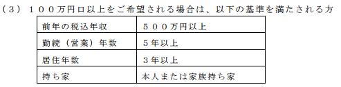山梨中央銀行公式HPより:「エブリ」で100万円以上の限度額を貰うための条件
