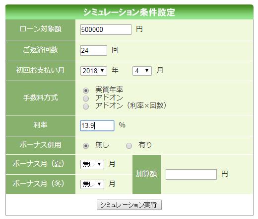 アプラス公式HP「カンタンローン計算」入力例