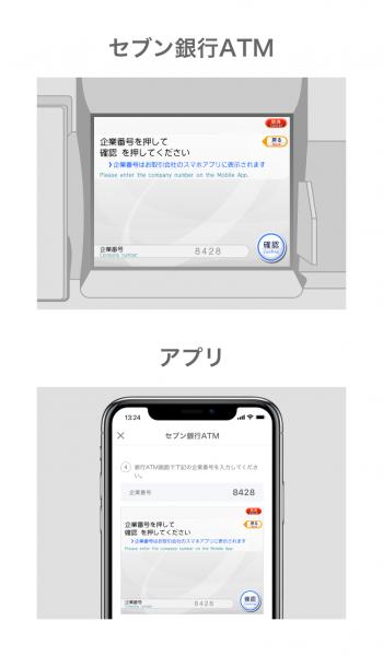 アプリ画面に表示された企業番号をATMに入力し、「確認」を押します。