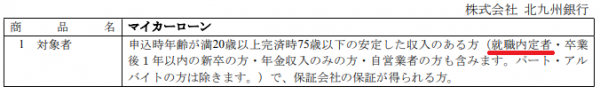 北九州銀行マイカーローン申込条件