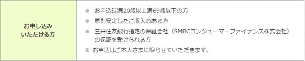 「専業主婦不可」な申込条件例(三井住友銀行)