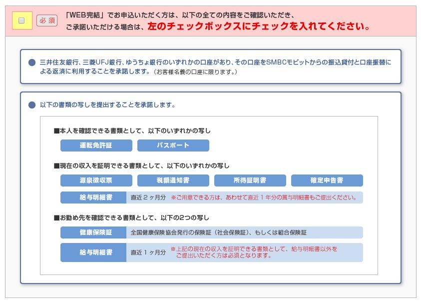 SMBCモビット公式HPより「WEB完結」必要書類