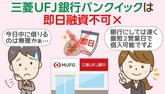 【即日融資不可】三菱UFJ銀行バンクイック、最速借入&郵送物回避の2条件と在籍確認